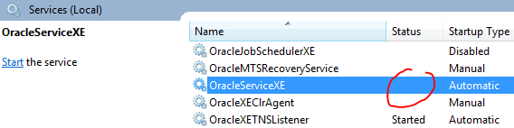 Oracle Service Status 1