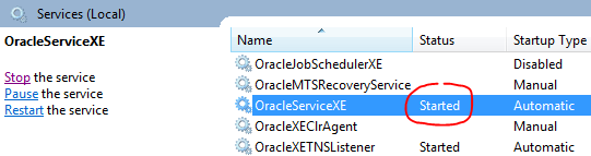 Oracle Service Status Started