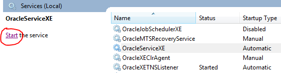 Oracle Service on Windows - Start