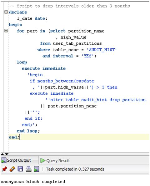 PL/SQL Script to drop old partition intervals