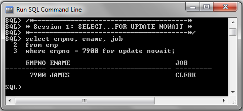 SELECT FOR UPDATE NOWAIT Session1