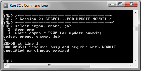 SELECT FOR UPDATE NOWAIT Session2